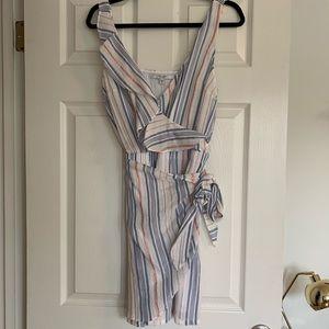 Striped lurex gauze summer dress